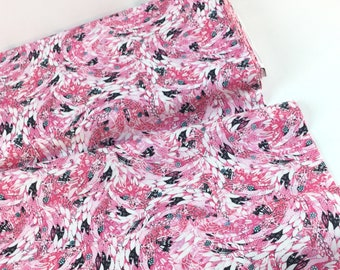 SALE ~ By the Yard ~ Feathers Pink Fabric ~ Fancy Flamingos Collection from Quilting Treasures, Cotton Quilting Fabric