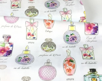 Amour De Fleur Perfume Bottles White Fabric ~ from Ink & Arrow for Quilting Treasures, Cotton Fabric