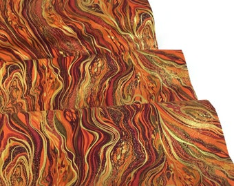 Palazzo Metallic Abstract Marbling Harvest Fabric ~ Designed by Chong-A Hwang for Timeless Treasures, Cotton Quilt Fabric