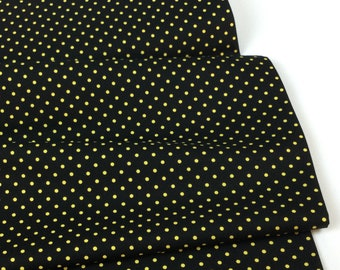 Yellow Dots on Black Fabric ~ Save the Bees Collection from Timeless Treasures Fabric, 100% Quilting Cotton
