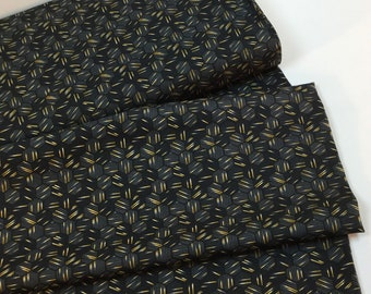 Hexie Texture Black/Gold Fabric ~ Watercolor Sketchbook Collection Designed by Grace Popp for StudioE Fabrics