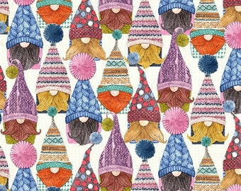 NEW*** Set Gnomes Cream Fabric ~ Love You! Gnome-atter What Collection from Michael Miller, 100% Cotton Quilting Fabric