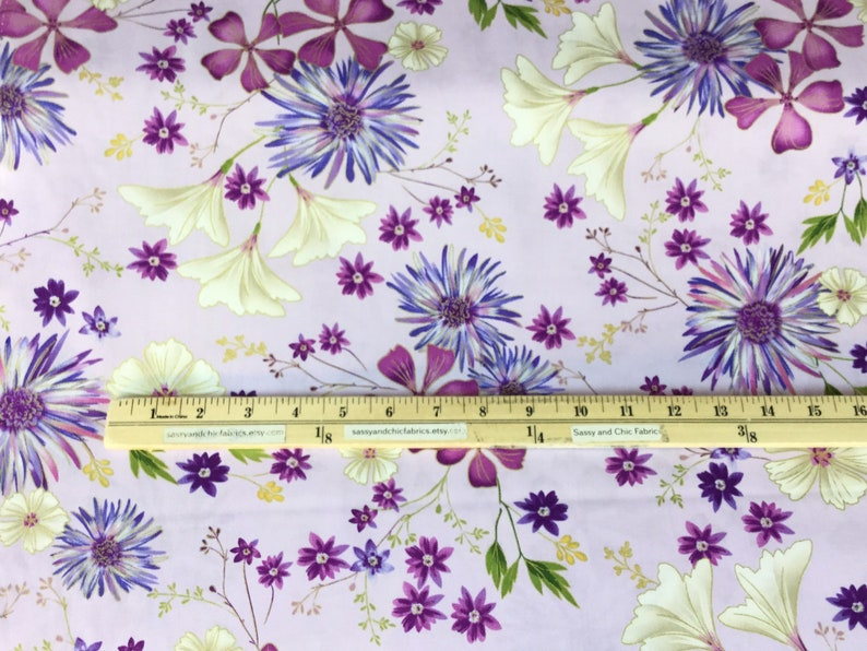 QuiltingCotton Fabric SALE ~ By the Yard ~ Enchanted Garden Floral Lilac Metallic Fabric  ~  Benartex Fabrics