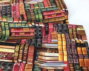Library Packed Books Metallic Multi Fabric  ~ from Timeless Treasures Collection, 100% Quilting Cotton Fabric