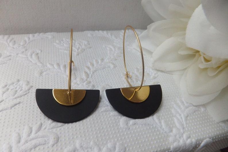 6802cb6dabcab Matt Black with Gold Geometric Earrings on Nickel Free Hoops or French Hooks