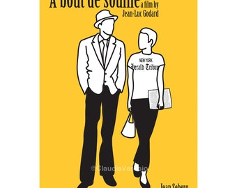 Film poster A Bout de Souffle, or Breathless, in various sizes