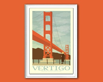 Movie poster Vertigo retro print in various sizes
