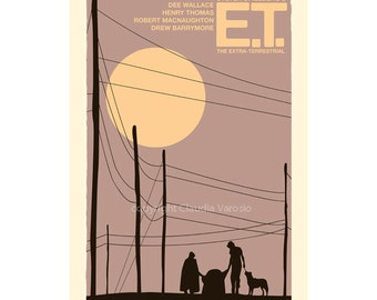 Movie poster retro print E.T.: The Extra-Terrestrial in various sizes