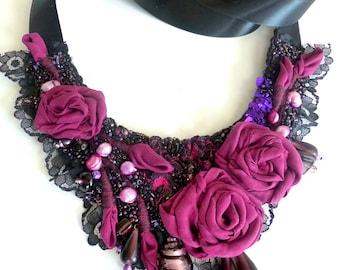 Floral bead embroidery bib necklace fiber art bohemian statement romantic roses pearls, Vintage tales XVI