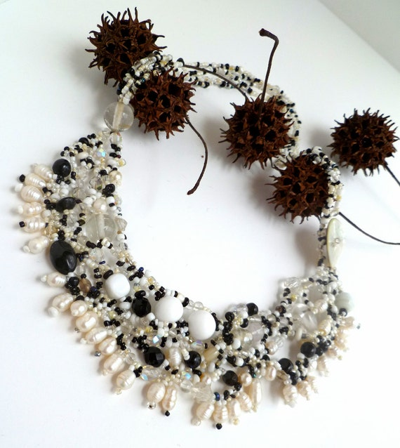 one of a kind Night and day VII black and white beaded art jewelry wearable art bohemian style statement Free form peyote stitch necklace