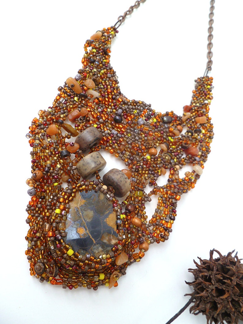 bohemian style fossil cabochon beadwork Ammonite IV statement necklace brown beads Free form peyote stitch unique necklace