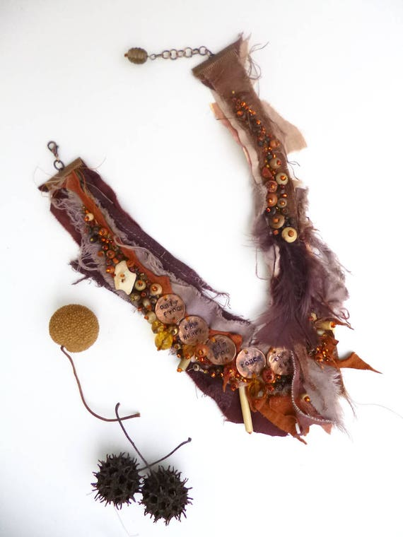 Fiber Art Assemblage Retro Fiber /& Feathers Fiber Art