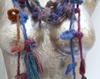 Crochet lariat extra long fiber art scarf, bohemian, romantic, boa, statement, fashion accessory, textile art, Variegated X