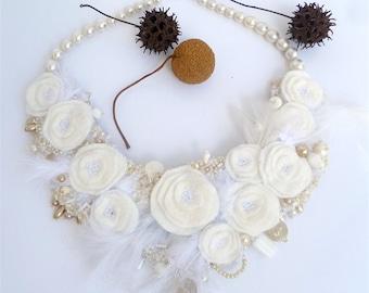 Fiber art white felt bib necklace wearable art floral bead embroidery bohemian style romantic jewelry, Vintage tales XXV