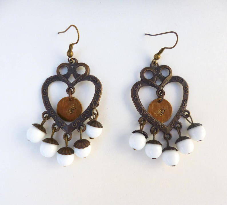 one of a kind Dandelion stamped white copper chandelier earrings bohemian style statement jewelry fashion trendy