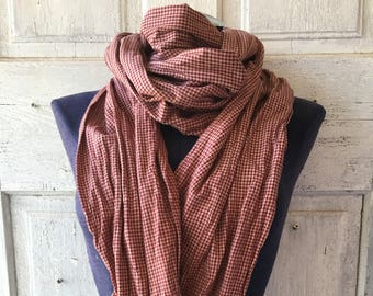Distressed fashion scarf made out of vintage checkered dusty rose and beige cotton plaid scarf cotton scarf fashion accessory unisex X long