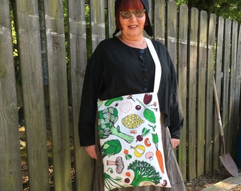 Cotton over the shoulder farmers market tote shopping bag veggie lovers vegan vegetarian say no to plastic bags washable