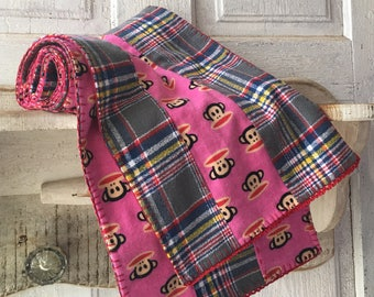 Handmade warm long pink flannel sock monkey plaid scarf with blanket stitch and crochet detailing eclectic fun whimsical fashion accessory