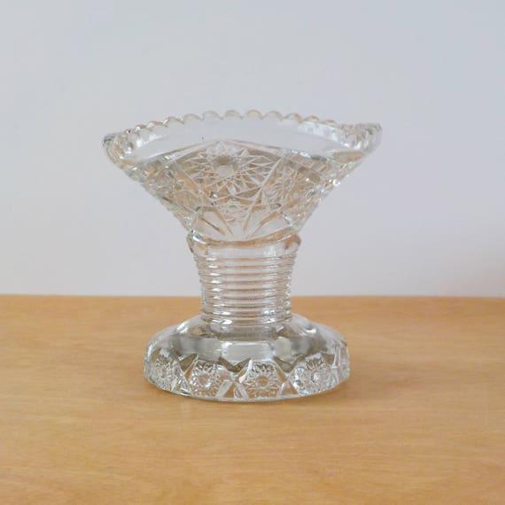 Vintage Clear Glass Vase Elegant Cut Or Pressed Glass Vase Etsy