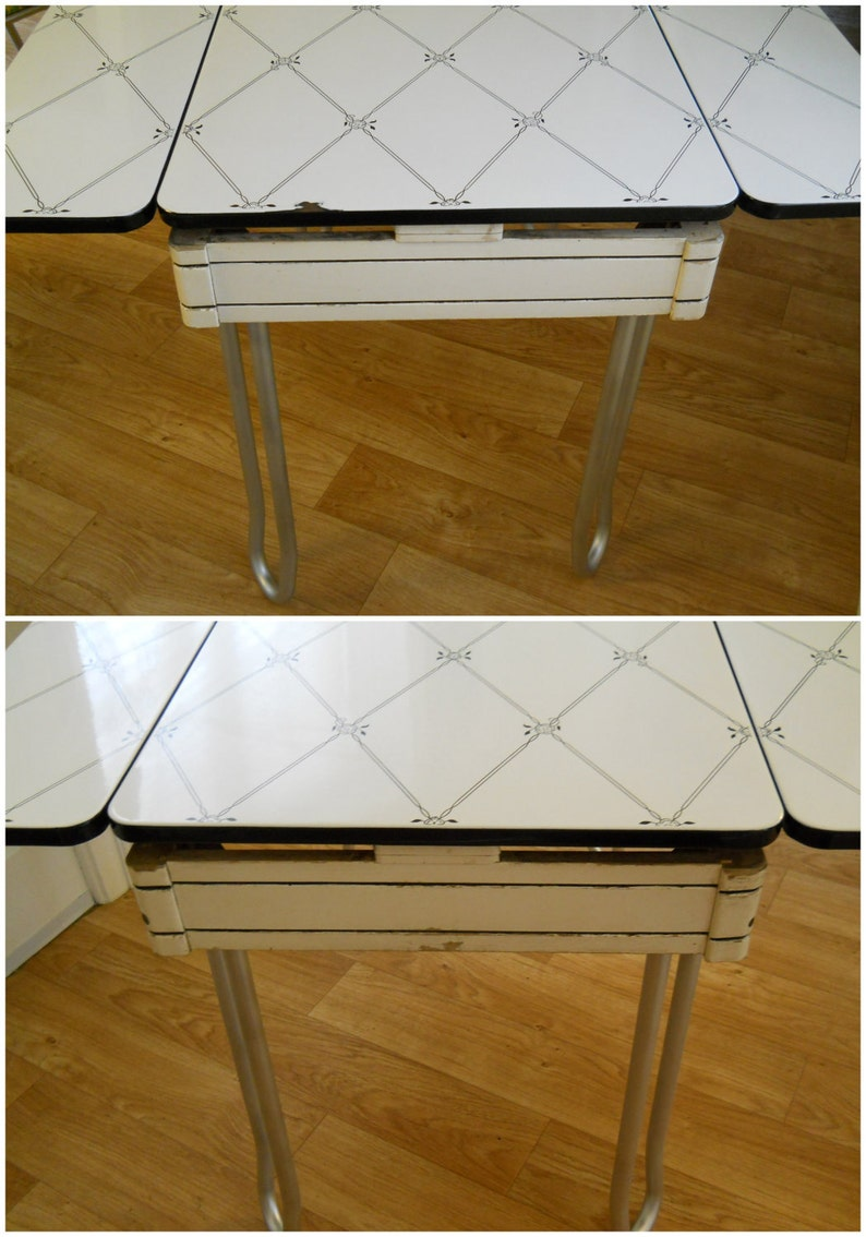 vintage enamel top kitchen table  etsy