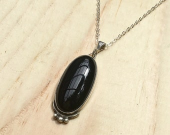 Black Onyx Necklace, Onyx Necklace, Black Onyx Pendant, Silver Necklace, Black Necklace, Gemstone Necklace, Black Onyx Jewelry, Onyx Jewelry