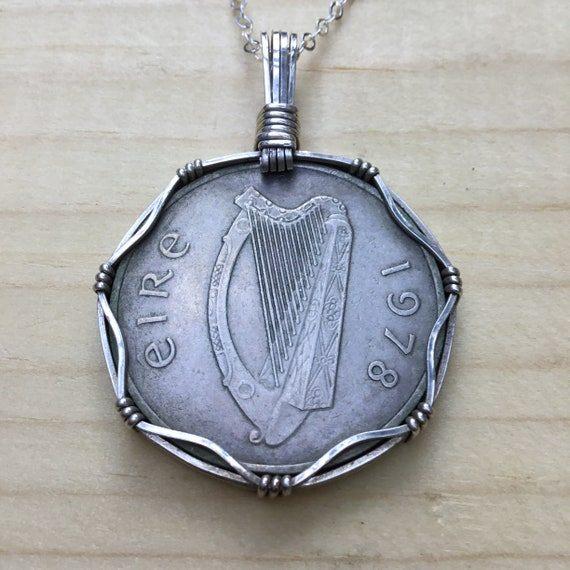 Irish Coin Necklace, Salmon Necklace, Harp Necklac
