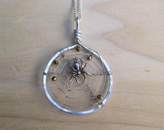 Spider Web Necklace Spider Web Pendant Swarovski Crystal Spider Web Spider Web Jewelry Halloween Necklace Halloween Jewelry