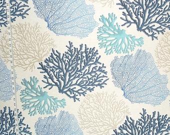 Blue coral fabric aqua ocean home decorating material  1 yard