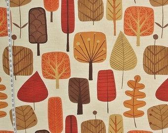 Scandinavian tree fabric retro orange fall autumn leaf leaves  mid-century cotton home decorating material  BTY