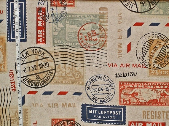 Postage Stamp Fabric Mail Travel Interior Home Decorating Material 1 Yard