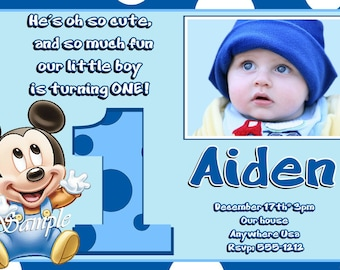 Mickey Mouse 1st Birthday Invitations (Baby Mickey Mouse 1st Birthday)