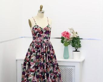 Floral gown, prom dress, floral wedding dress, casual wedding dress, wedding dress with pockets, floral prom dress,