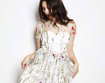 Embroidered floral dress, prom dress, white mini dress, elopement dress, reception dress, embroidery, floral mini, floral wedding dress