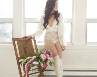 91abb60275 Ivory lace and organic cotton bodysuit