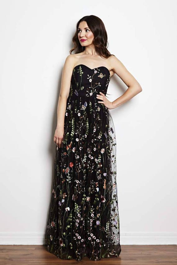 Black floral gown, floral maxi dress, black wedding dress, prom dress, embroidered dress, strapless, spring wedding, black tie gown