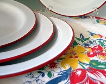 Vintage Enamelware Plates Red Trim and White Metal Enamel, Four.