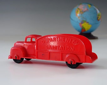 1950s Red Toy Truck . Original BANNER TOYS U.S.A. Antique Hard Plastic Tanker Truck . Collector Toy . Exc. Cond.