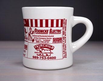 Restaurant Coffee Mug, Diner Mug, Advertising Mug, Beige with Deep Burgundy Print, Reddy Kilowatt, Heavy Mug, Gift for Him, Like New, UNUSED