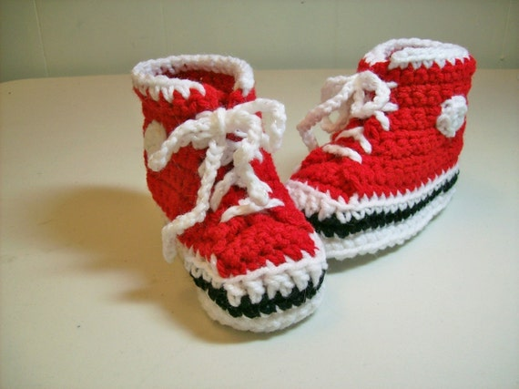 e20bd678df0 Baby Booties Hi top Baby Red Sneakers Converse Style Crochet Baby Shoes  Slippers. Add to Favourites