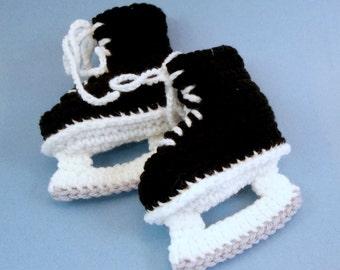 Baby Booties Crochet Hockey Skates  Black Ice Skates