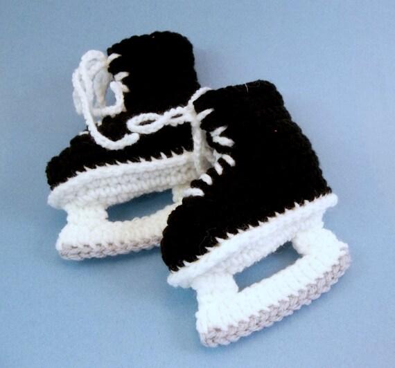 Baby-Schlittschuhen Baby Booties häkeln schwarz Schlittschuhe   Etsy