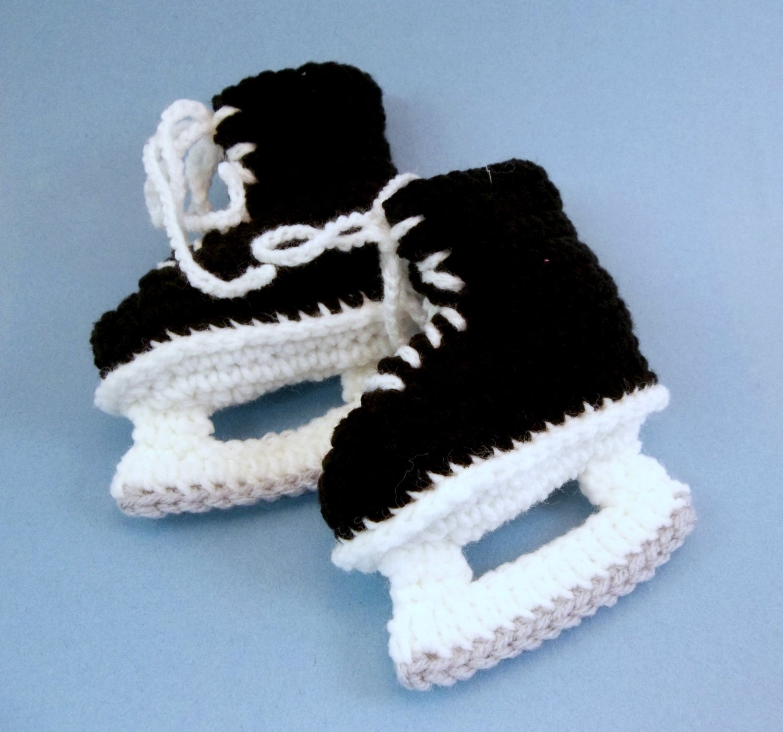 Baby Booties Crochet Hockey Skates Black Ice Skates Etsy