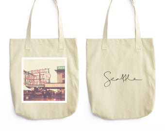 tote bag, shopping bag, Seattle photo, Pike Place market tote, travel bag, book bag, city urban, PNW, grocery bag, red, cream, photo bag