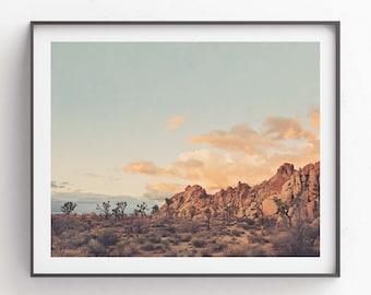 Joshua Tree Print, Desert Sunset Photography, Modern Boho, California Wall Art, Nursery Decor, Southwestern, Wedding Gift