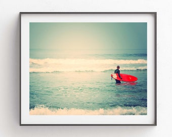 Surfer Art Print, Red Surfboard Photo, Beach Photography, Ocean Waves, Boys Room Decor, Dads, Gift for Him