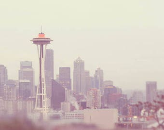 Space Needle photography, downtown Seattle skyline photograph, grey purple gold cityscape Washington Pacific Northwest, large home decor