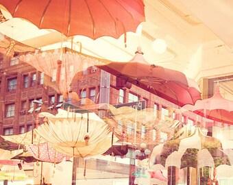 Seattle photography art print, les parapluies, photo of umbrellas, rainy day in Seattle, red orange parasol, Pacific Northwest art