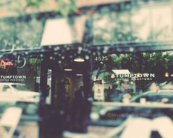 photography, Stumptown coffee shop photo, Portland photograph, rainy day, Oregon, Pacific Northwest, blue green, travel print