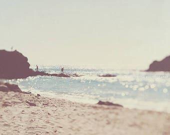 Big Sur photograph, travel photography, surreal beach scape, bokeh, dreamy sunshine, blue silver sea, coastal, boys room California print