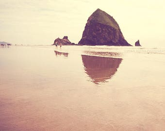photography, Cannon Beach photo Haystack Rock Pacific Northwest Oregon seaside water reflection brown peach summer vacation travel